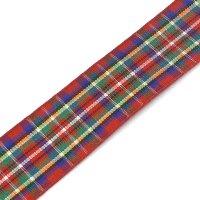 deep red tartan ribbon 25mm
